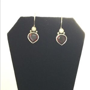 Silpada Get Glowing Garnet and Pearl earrings